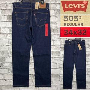 NWT LEVIS 505 34 x 32 Regular Dark Wash Jeans
